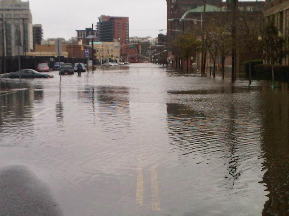 Flooded streets near Hoboken & Jersey City.  October 30, 2012